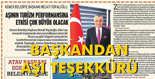 """KEMER BELEDİYE BAŞKANI TOPALOĞLU'NDAN """"AŞI"""" TEŞEKKÜRÜ"""